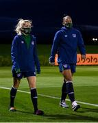 23 November 2020; Denise O'Sullivan, left, and Rianna Jarrett during a Republic of Ireland Women training session at the FAI National Training Centre in Abbotstown, Dublin. Photo by Stephen McCarthy/Sportsfile