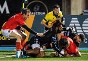 23 November 2020; Jean Kleyn of Munster dives to score his side's fourth try during the Guinness PRO14 match between Glasgow Warriors and Munster at Scotstoun Stadium in Glasgow, Scotland. Photo by Bill Murray/Sportsfile?