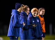 23 November 2020; Manager Vera Pauw with, from left, Kate Keaney, STATSports performance analysist, Assistant coach Eileen Gleeson and Heather Payne during a Republic of Ireland Women training session at the FAI National Training Centre in Abbotstown, Dublin. Photo by Stephen McCarthy/Sportsfile