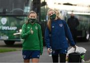24 November 2020; Katie McCabe, left, and Grace Moloney during a Republic of Ireland Women training session at the FAI National Training Centre in Abbotstown, Dublin. Photo by Stephen McCarthy/Sportsfile