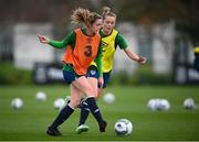 24 November 2020; Heather Payne, left, and Claire Walsh during a Republic of Ireland Women training session at the FAI National Training Centre in Abbotstown, Dublin. Photo by Stephen McCarthy/Sportsfile