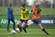 24 November 2020; Aine O'Gorman, left, and Heather Payne during a Republic of Ireland Women training session at the FAI National Training Centre in Abbotstown, Dublin. Photo by Stephen McCarthy/Sportsfile