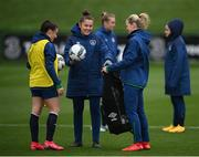 24 November 2020; Diane Caldwell, right, Masseur Hannah Tobin Jones and Jessica Ziu, left, during a Republic of Ireland Women training session at the FAI National Training Centre in Abbotstown, Dublin. Photo by Stephen McCarthy/Sportsfile