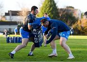 25 November 2020; Andrew Smith, left, and Peter Dooley during Leinster Rugby squad training at UCD in Dublin. Photo by Ramsey Cardy/Sportsfile