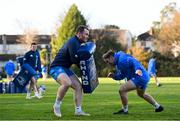 i25 November 2020; Peter Dooley, left, and Liam Turner during Leinster Rugby squad training at UCD in Dublin. Photo by Ramsey Cardy/Sportsfile