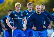 25 November 2020; Leinster players, from left, Jamie Osborne, Charlie Ryan, Rhys Ruddock and Ross Molony during Leinster Rugby squad training at UCD in Dublin. Photo by Ramsey Cardy/Sportsfile