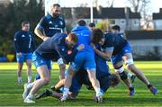 25 November 2020; Ciarán Frawley, left, and Alex Soroka during Leinster Rugby squad training at UCD in Dublin. Photo by Ramsey Cardy/Sportsfile