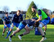 25 November 2020; David Hawkshaw is tackled by Josh Murphy during Leinster Rugby squad training at UCD in Dublin. Photo by Ramsey Cardy/Sportsfile