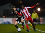 25 November 2020; Junior Ogedi-Uzokwe of Sligo Rovers in action against Colm Horgan of Derry City during the Extra.ie FAI Cup Quarter-Final match between Sligo Rovers and Derry City at The Showgrounds in Sligo. Photo by Harry Murphy/Sportsfile
