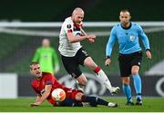 26 November 2020; Chris Shields of Dundalk is tackled by Srdjan Grahovac of SK Rapid Wien during the UEFA Europa League Group B match between Dundalk and SK Rapid Wien at Aviva Stadium in Dublin. Photo by Eóin Noonan/Sportsfile