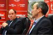 26 November 2020; Newly appointed Tyrone joint managers Feargal Logan, left, and Brian Dooher during a press conference at the Tyrone GAA Centre of Excellence in Garvaghy, Tyrone. Photo by Oliver McVeigh/Sportsfile