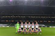 26 November 2020; The Dundalk team, top row, from left, Gary Rogers, Sean Hoare, Chris Shields, Daniel Cleary, Andy Boyle and Greg Sloggett. Bottom row, from left, Sean Gannon, Michael Duffy, Cameron Dummigan, David McMillan and Stefan Colovic ahead of the UEFA Europa League Group B match between Dundalk and SK Rapid Wien at Aviva Stadium in Dublin. Photo by Ben McShane/Sportsfile