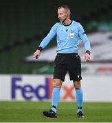 26 November 2020; Referee Tamás Bognar during the UEFA Europa League Group B match between Dundalk and SK Rapid Wien at Aviva Stadium in Dublin. Photo by Ben McShane/Sportsfile