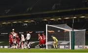 26 November 2020; Daniel Cleary of Dundalk has a header on goal during the UEFA Europa League Group B match between Dundalk and SK Rapid Wien at Aviva Stadium in Dublin. Photo by Ben McShane/Sportsfile