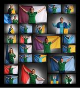 27 November 2020; (EDITOR'S NOTE: Image has been edited to make a composite) Republic of Ireland players pose with their respective county flags during a Republic of Ireland Women portrait session at the Castleknock Hotel in Dublin. Photo by Stephen McCarthy/Sportsfile