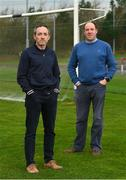28 November 2020; Newly appointed Tyrone joint managers Brian Dooher, left, and Feargal Logan at the Tyrone GAA Centre of Excellence in Garvaghy, Tyrone. Photo by Oliver McVeigh/Sportsfile