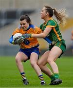 28 November 2020; Gráinne Nolan of Clare in action against Sarah Wall of Meath  during the TG4 All-Ireland Intermediate Ladies Football Championship Semi-Final match between Clare and Meath at MW Hire O'Moore Park in Portlaoise, Laois. Photo by Brendan Moran/Sportsfile