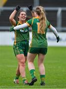 28 November 2020; Shauna Ennis, left, and Orlagh Lally of Meath celebrate after the TG4 All-Ireland Intermediate Ladies Football Championship Semi-Final match between Clare and Meath at MW Hire O'Moore Park in Portlaoise, Laois. Photo by Brendan Moran/Sportsfile