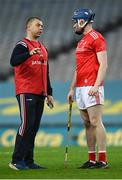 28 November 2020; Louth manager Paul McCormack speaks with Jamie McDonnell of Louth during the Lory Meagher Cup Final match between Fermanagh and Louth at Croke Park in Dublin. Photo by Harry Murphy/Sportsfile