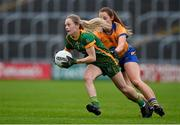 28 November 2020; Megan Thynne of Meath in action against Eimear O'Connor of Clare during the TG4 All-Ireland Intermediate Ladies Football Championship Semi-Final match between Clare and Meath at MW Hire O'Moore Park in Portlaoise, Laois. Photo by Brendan Moran/Sportsfile