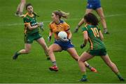 28 November 2020; Chloe Moloney of Clare in action against Emma Troy and Emma Duggan of Meath during the TG4 All-Ireland Intermediate Ladies Football Championship Semi-Final match between Clare and Meath at MW Hire O'Moore Park in Portlaoise, Laois. Photo by Brendan Moran/Sportsfile