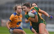 28 November 2020; Máire O'Shaughnessy of Meath in action against Amy Sexton of Clare during the TG4 All-Ireland Intermediate Ladies Football Championship Semi-Final match between Clare and Meath at MW Hire O'Moore Park in Portlaoise, Laois. Photo by Brendan Moran/Sportsfile