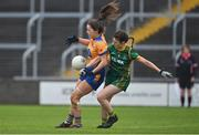 28 November 2020; Niamh O'Dea of Clare in action against Emma Troy of Meath during the TG4 All-Ireland Intermediate Ladies Football Championship Semi-Final match between Clare and Meath at MW Hire O'Moore Park in Portlaoise, Laois. Photo by Brendan Moran/Sportsfile