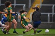 28 November 2020; Bridgetta Lynch of Meath scores her side's third goal past Clare goalkeeper Micaela Glynn during the TG4 All-Ireland Intermediate Ladies Football Championship Semi-Final match between Clare and Meath at MW Hire O'Moore Park in Portlaoise, Laois. Photo by Brendan Moran/Sportsfile