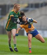 28 November 2020; Róisín Considine of Clare is tackled by Aoibheann Leahy of Meath during the TG4 All-Ireland Intermediate Ladies Football Championship Semi-Final match between Clare and Meath at MW Hire O'Moore Park in Portlaoise, Laois. Photo by Brendan Moran/Sportsfile