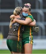 28 November 2020; Vikki Wall, right, and team-mate Monica McGuirk of Meath celebrate after the TG4 All-Ireland Intermediate Ladies Football Championship Semi-Final match between Clare and Meath at MW Hire O'Moore Park in Portlaoise, Laois. Photo by Brendan Moran/Sportsfile