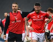 28 November 2020; Louth manager Paul McCormack and Andrew McGrave of Louth embarce following the Lory Meagher Cup Final match between Fermanagh and Louth at Croke Park in Dublin. Photo by Harry Murphy/Sportsfile