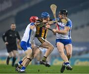 28 November 2020; John Donnelly of Kilkenny in action against Tadhg de Búrca, left, and Kevin Moran of Waterford during the GAA Hurling All-Ireland Senior Championship Semi-Final match between Kilkenny and Waterford at Croke Park in Dublin. Photo by Ramsey Cardy/Sportsfile