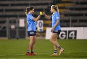 28 November 2020; Dublin players Noëlle Healy, left, and Nicole Owens celebrate after the TG4 All-Ireland Senior Ladies Football Championship Semi-Final match between Armagh and Dublin at Kingspan Breffni in Cavan. Photo by Piaras Ó Mídheach/Sportsfile