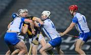 28 November 2020; TJ Reid of Kilkenny in action against Conor Prunty, left, and Shane McNulty of Waterford during the GAA Hurling All-Ireland Senior Championship Semi-Final match between Kilkenny and Waterford at Croke Park in Dublin. Photo by Ramsey Cardy/Sportsfile
