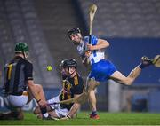 28 November 2020; Jamie Barron of Waterford has his shot on goal blocked by Kilkenny goalkeeper Eoin Murphy and Conor Browne during the GAA Hurling All-Ireland Senior Championship Semi-Final match between Kilkenny and Waterford at Croke Park in Dublin. Photo by Stephen McCarthy/Sportsfile