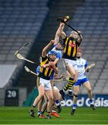 28 November 2020; TJ Reid with the support of his Kilkenny team-mate John Donnelly, left, in action against Kevin Moran of Waterford during the GAA Hurling All-Ireland Senior Championship Semi-Final match between Kilkenny and Waterford at Croke Park in Dublin. Photo by Stephen McCarthy/Sportsfile