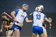 28 November 2020; Stephen Bennett of Waterford celebrates with Dessie Hutchinson after scoring his side's first goal during the GAA Hurling All-Ireland Senior Championship Semi-Final match between Kilkenny and Waterford at Croke Park in Dublin. Photo by Harry Murphy/Sportsfile