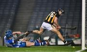 28 November 2020; Niall Brassil of Kilkenny has a shot on goal blocked by Conor Prunty and goalkeeper Stephen O'Keeffe of Waterford during the GAA Hurling All-Ireland Senior Championship Semi-Final match between Kilkenny and Waterford at Croke Park in Dublin. Photo by Ray McManus/Sportsfile