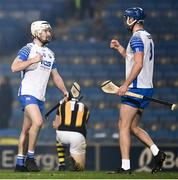 28 November 2020; Shane McNulty and Conor Prunty of Waterford celebrate as TJ Reid of Kilkenny looks dejected after the GAA Hurling All-Ireland Senior Championship Semi-Final match between Kilkenny and Waterford at Croke Park in Dublin. Photo by Ray McManus/Sportsfile