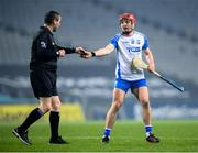 28 November 2020; Darragh Lyons of Waterford hands over the referee's notebook to Fergal Horgan during the GAA Hurling All-Ireland Senior Championship Semi-Final match between Kilkenny and Waterford at Croke Park in Dublin. Photo by Stephen McCarthy/Sportsfile