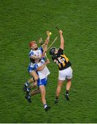 28 November 2020; Tadhg de Búrca, left, Kevin Moran of Waterford in action against Niall Brassil of Kilkenny during the GAA Hurling All-Ireland Senior Championship Semi-Final match between Kilkenny and Waterford at Croke Park in Dublin. Photo by Daire Brennan/Sportsfile