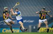 28 November 2020; Jamie Barron of Waterford in action against Paddy Deegan, left, and Conor Delaney of Kilkenny during the GAA Hurling All-Ireland Senior Championship Semi-Final match between Kilkenny and Waterford at Croke Park in Dublin. Photo by Ramsey Cardy/Sportsfile
