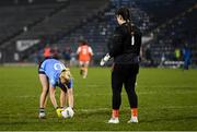 28 November 2020; Armagh goalkeeper Anna Carr watches as Carla Rowe of Dublin places the ball for a penalty before scoring her side's third goal during the TG4 All-Ireland Senior Ladies Football Championship Semi-Final match between Armagh and Dublin at Kingspan Breffni in Cavan. Photo by Piaras Ó Mídheach/Sportsfile