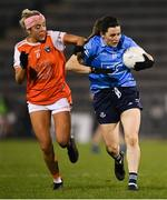 28 November 2020; Lyndsey Davey of Dublin in action against Niamh Coleman of Armagh during the TG4 All-Ireland Senior Ladies Football Championship Semi-Final match between Armagh and Dublin at Kingspan Breffni in Cavan. Photo by Piaras Ó Mídheach/Sportsfile