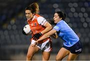 28 November 2020; Caroline O'Hanlon of Armagh in action against Sinéad Goldrick of Dublin during the TG4 All-Ireland Senior Ladies Football Championship Semi-Final match between Armagh and Dublin at Kingspan Breffni in Cavan. Photo by Piaras Ó Mídheach/Sportsfile