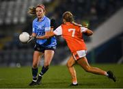 28 November 2020; Siobhán Killeen of Dublin in action against Grace Ferguson of Armagh during the TG4 All-Ireland Senior Ladies Football Championship Semi-Final match between Armagh and Dublin at Kingspan Breffni in Cavan. Photo by Piaras Ó Mídheach/Sportsfile