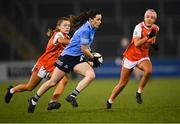 28 November 2020; Lyndsey Davey of Dublin in action against Grace Ferguson, left, and Niamh Coleman of Armagh during the TG4 All-Ireland Senior Ladies Football Championship Semi-Final match between Armagh and Dublin at Kingspan Breffni in Cavan. Photo by Piaras Ó Mídheach/Sportsfile