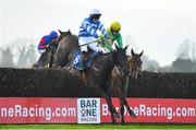 29 November 2020; Cushinstown Finest, left, with Jordan Gainford up, jumps the last alongside eventual winner Mega Mindy, with Bryan Cooper up, on their way to finishing second in the Bar One Racing Best Odds Guaranteed Irish EBF Mares Handicap Steeplechase on day two of the Fairyhouse Winter Festival at Fairyhouse Racecourse in Ratoath, Meath. Photo by Seb Daly/Sportsfile