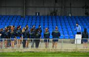 29 November 2020; Roscommon manager Michael Finneran gives a team talk ahead of the TG4 All-Ireland Intermediate Ladies Football Championship Semi-Final match between Roscommon and Westmeath at Glennon Brothers Pearse Park in Longford. Photo by Sam Barnes/Sportsfile