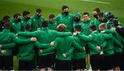 29 November 2020; Billy Burns of Ireland speaks to his team-mates prior to the Autumn Nations Cup match between Ireland and Georgia at the Aviva Stadium in Dublin. Photo by David Fitzgerald/Sportsfile